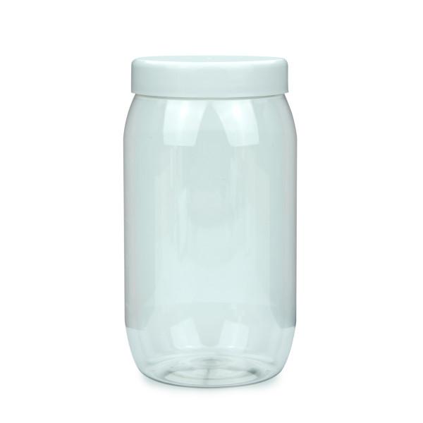 PET Schraubtiegel Cylindrical 1000 ml Gewinde 82 RTS mit Schraubdeckel weiß glatt