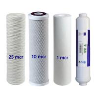 Osmose Filter 4er-Set 25-10-1-T33 für 1. bis 3. und 5. Stufe Umkehrosmose